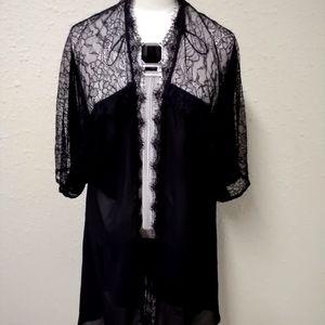 Black lace kimono/coverup